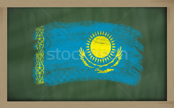Flagge Kasachstan Tafel gemalt Kreide Farbe Stock foto © vepar5