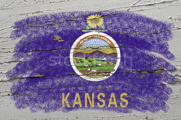 flag of US state of kansas on grunge wooden texture precise pain Stock photo © vepar5