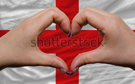 Heart and love gesture showed by hands over flag of canada backg Stock photo © vepar5