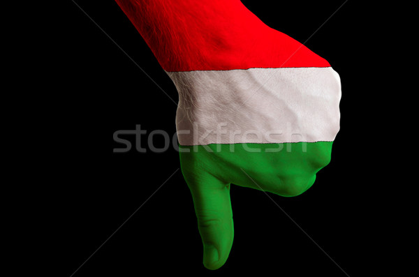 hungary national flag thumbs down gesture for failure made with  Stock photo © vepar5