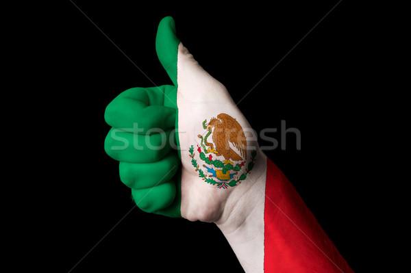 Meksika bayrak başparmak yukarı jest mükemmellik Stok fotoğraf © vepar5