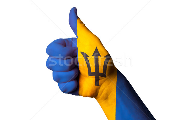 Barbados zászló hüvelykujj felfelé kézmozdulat kiválóság Stock fotó © vepar5