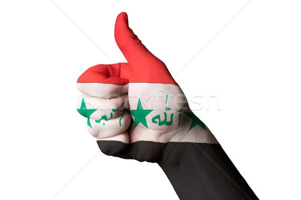 Irak vlag duim omhoog gebaar uitmuntendheid Stockfoto © vepar5