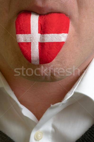 Man tong geschilderd Denemarken vlag kennis Stockfoto © vepar5