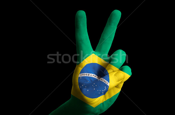 brazil national flag two finger up gesture for victory and winne Stock photo © vepar5