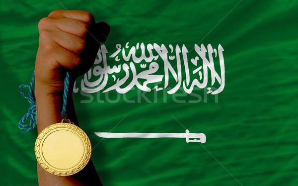 Gold medal for sport and  national flag of  of saudi arabia    Stock photo © vepar5