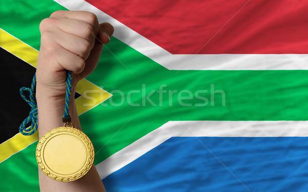 Aranyérem sport zászló Dél-Afrika nyertes tart Stock fotó © vepar5