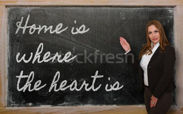 Teacher showing Home is where the heart is on blackboard Stock photo © vepar5