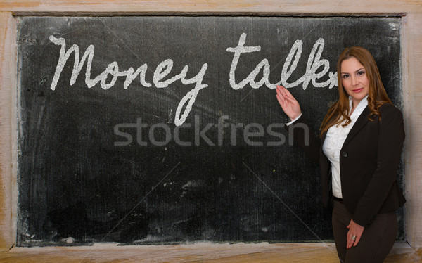 Stockfoto: Leraar · tonen · geld · Blackboard · geslaagd · mooie