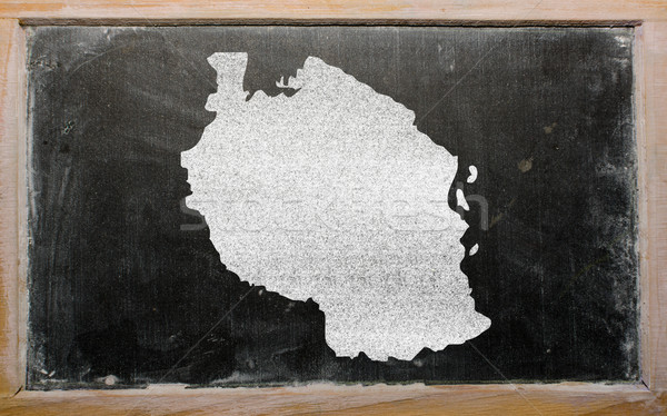 Stock photo: outline map of tanzania on blackboard