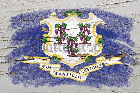 Stock fotó: Zászló · Nyugat-Virginia · grunge · fából · készült · textúra · festék
