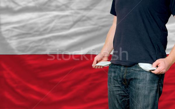 Recessão moço sociedade Polônia pobre homem Foto stock © vepar5