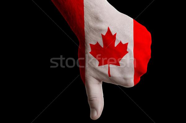 Сток-фото: Канада · флаг · большой · палец · руки · вниз · жест · провал