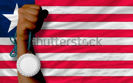 Silver medal for sport and  national flag of trinidad tobago    Stock photo © vepar5