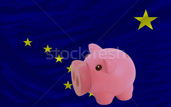 piggy rich bank and  flag of american state of alaska    Stock photo © vepar5