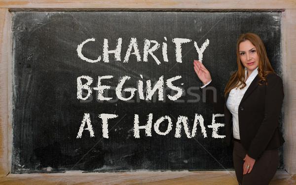 Tanár mutat jótékonyság otthon iskolatábla sikeres Stock fotó © vepar5