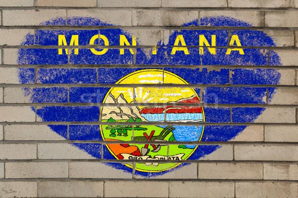 heart shape flag of montana on brick wall Stock photo © vepar5