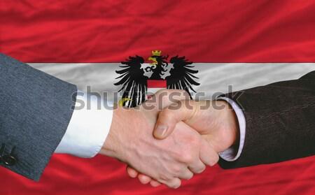 Empresarios apretón de manos buena acuerdo Albania bandera Foto stock © vepar5