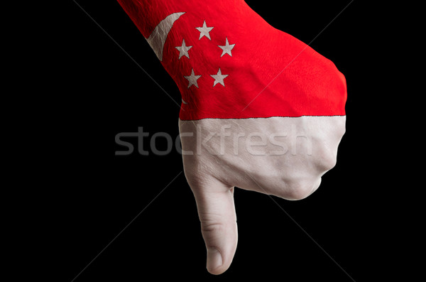 singapore national flag thumbs down gesture for failure made wit Stock photo © vepar5