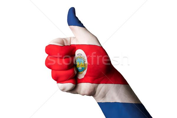 Bandeira polegar para cima gesto excelência mão Foto stock © vepar5