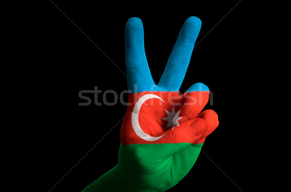 azerbaijan national flag two finger up gesture for victory and w Stock photo © vepar5