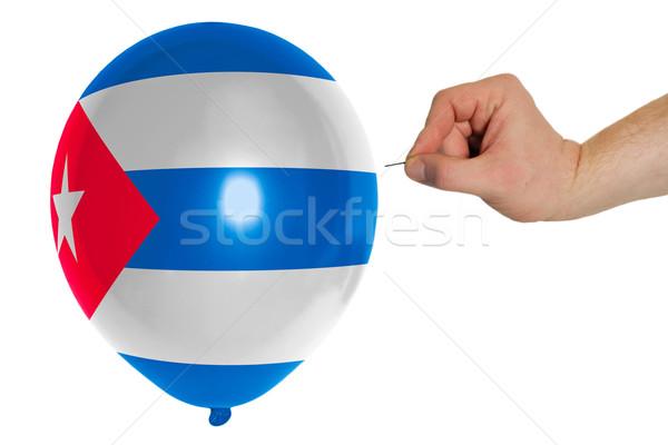 Bursting balloon colored in  national flag of cuba    Stock photo © vepar5