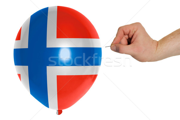 Bursting balloon colored in  national flag of norway    Stock photo © vepar5