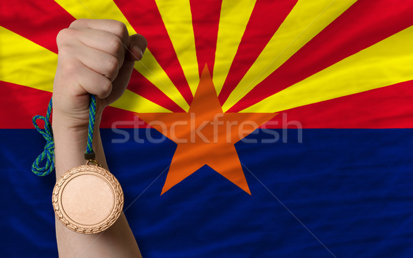 Bronze medal for sport and  flag of american state of arizona    Stock photo © vepar5