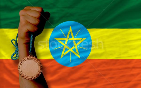 Brąz medal sportu banderą Etiopia Zdjęcia stock © vepar5