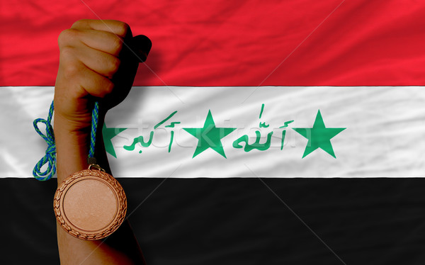 Bronce medalla deporte bandera Irak Foto stock © vepar5