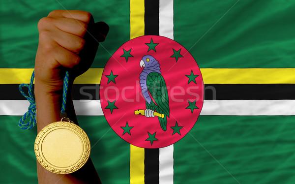 Aranyérem sport zászló Dominika nyertes tart Stock fotó © vepar5