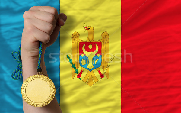 Aranyérem sport zászló Moldova nyertes tart Stock fotó © vepar5