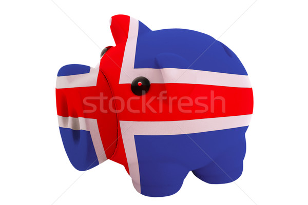 piggy rich bank in colors  national flag of iceland    for savin Stock photo © vepar5