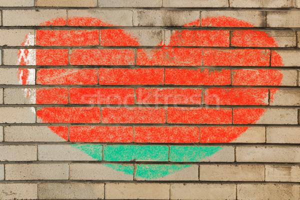 Kalp şekli bayrak Belarus tuğla duvar kalp Stok fotoğraf © vepar5