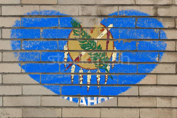 формы сердца флаг Оклахома кирпичная стена сердце Сток-фото © vepar5