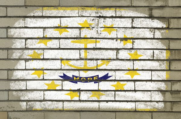 grunge flag of US state of rhode island on brick wall painted wi Stock photo © vepar5
