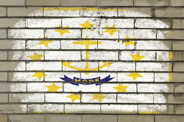 Grunge bayrak Rhode Island tuğla duvar boyalı amerikan Stok fotoğraf © vepar5