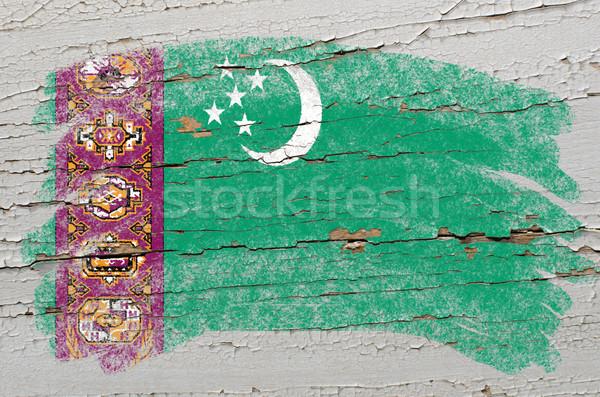 Foto stock: Bandeira · Turcomenistão · grunge · textura · pintado