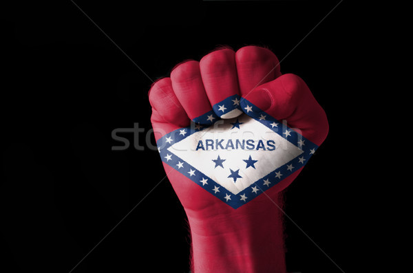 Fist painted in colors of us state of arkansas flag Stock photo © vepar5