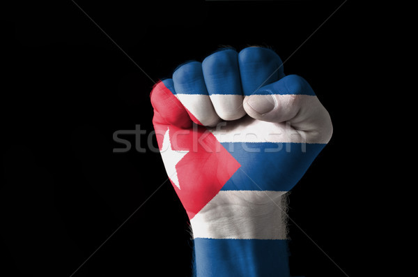Fist painted in colors of cuba flag Stock photo © vepar5