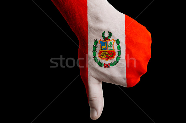 peru national flag thumbs down gesture for failure made with han Stock photo © vepar5