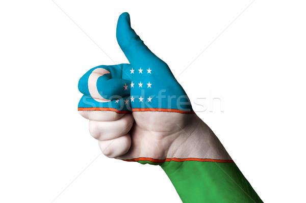 Uzbekistán bandera pulgar hasta gesto excelencia Foto stock © vepar5