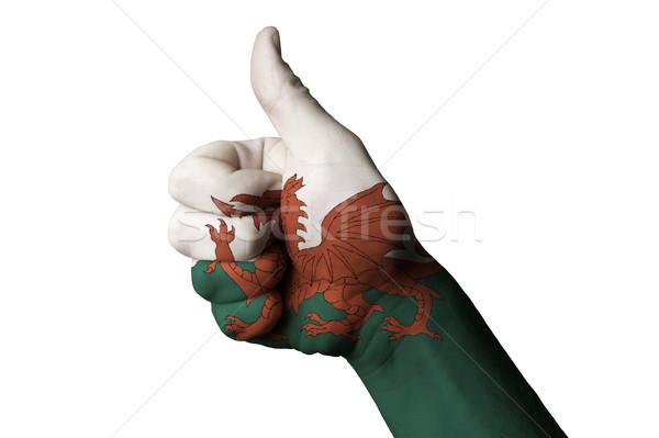 Wales vlag duim omhoog gebaar uitmuntendheid Stockfoto © vepar5