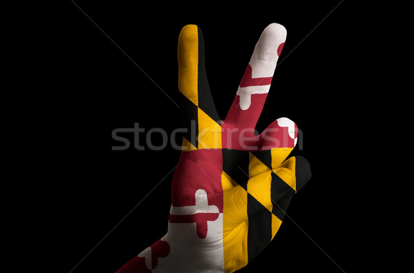 maryland us state flag two finger up gesture for victory and win Stock photo © vepar5