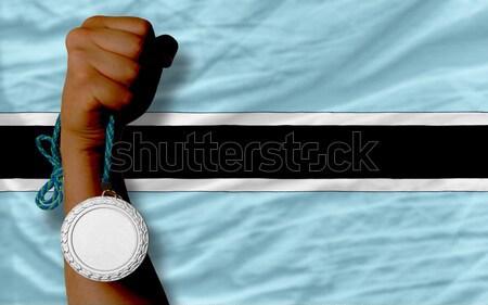 Silver medal for sport and  national flag of botswana    Stock photo © vepar5