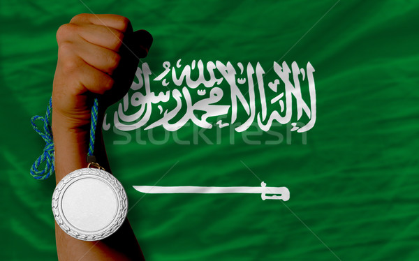 Silver medal for sport and  national flag of  of saudi arabia    Stock photo © vepar5