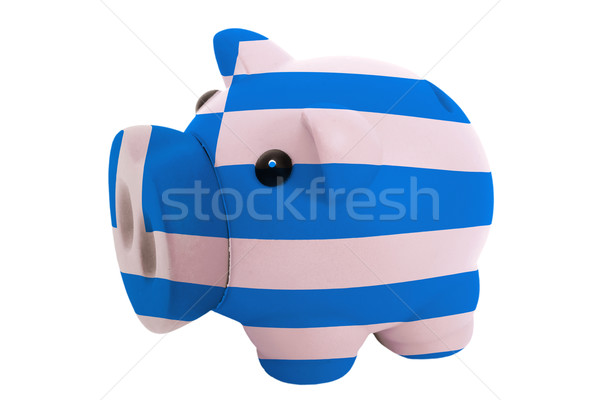 piggy rich bank in colors  national flag of greece    for saving Stock photo © vepar5