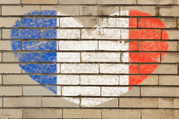 Hartvorm vlag Frankrijk muur hart Stockfoto © vepar5