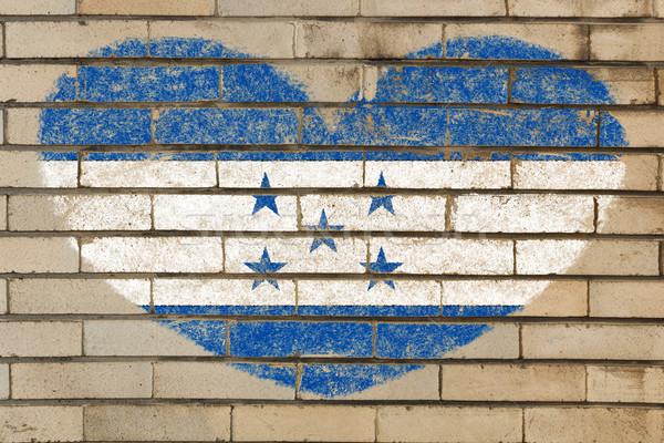 A forma di cuore bandiera Honduras muro di mattoni cuore Foto d'archivio © vepar5