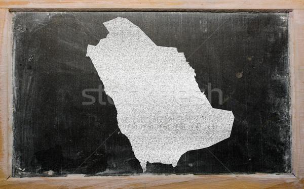 Stock photo: outline map of saudi arabia on blackboard